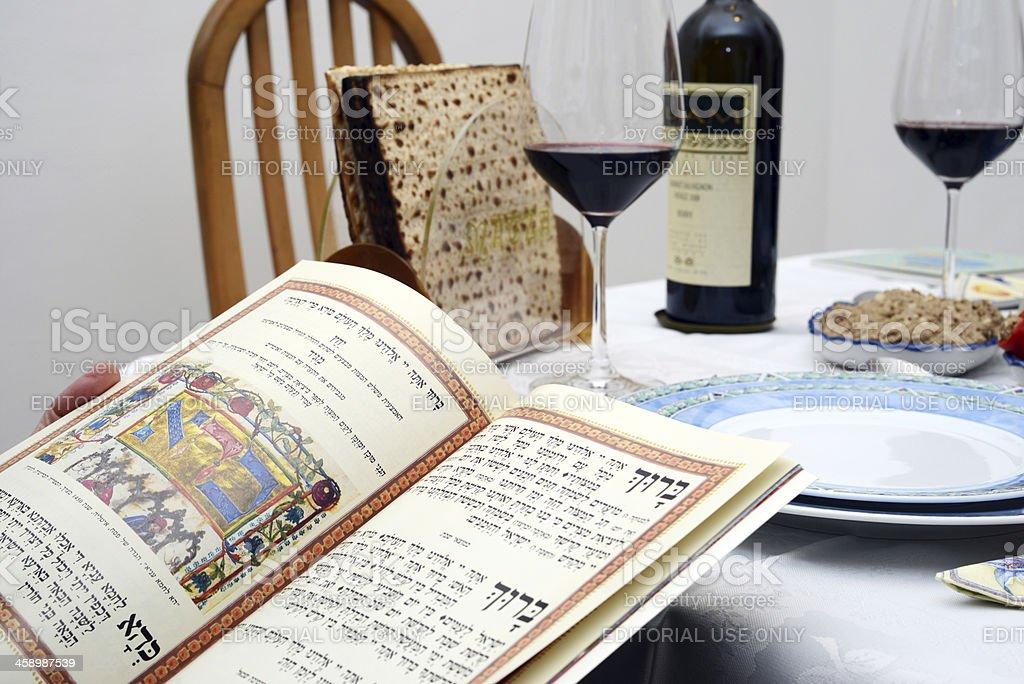 Jewish passover Wine and matzoh royalty-free stock photo