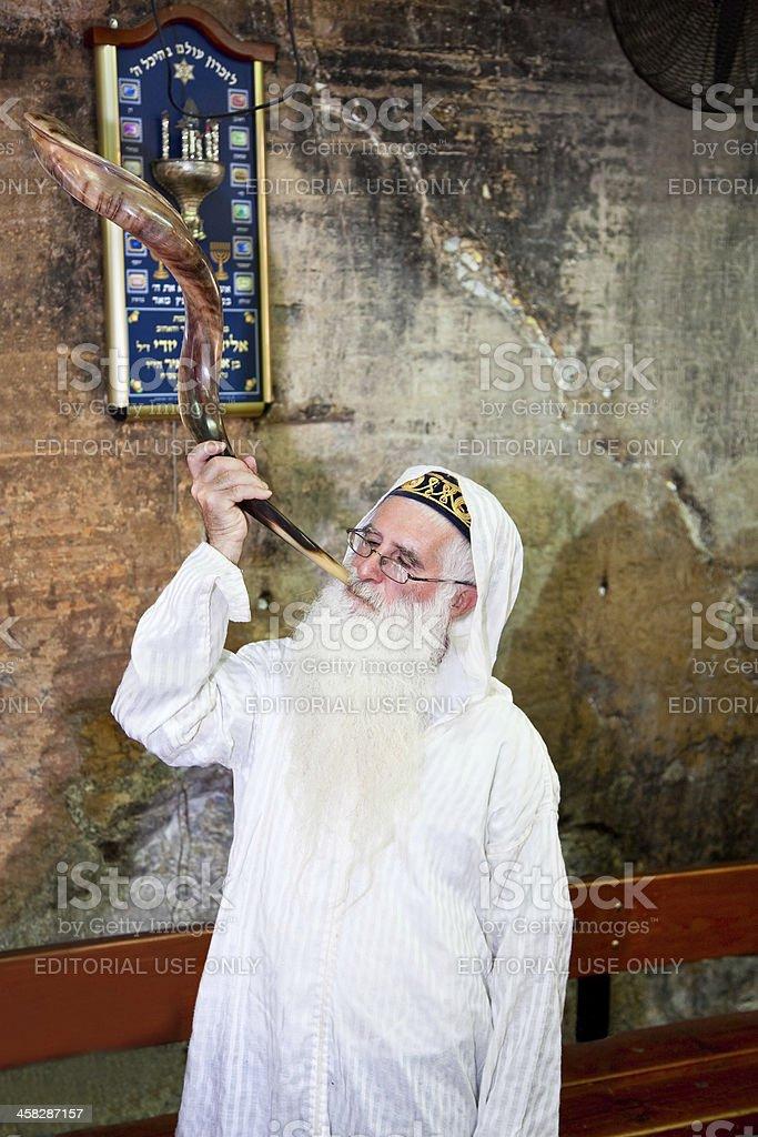 Jewish Pesach blowing in 'Shofar' , Haifa, Israel royalty-free stock photo