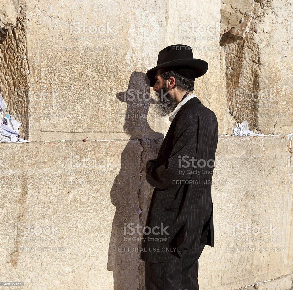 Jewish praying at the western wall, Jerusalem, Israel stock photo
