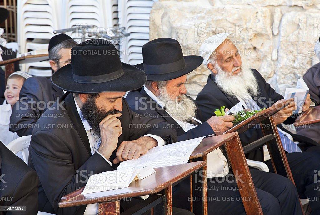 Jewish praying at the western wall, Jerusalem, Israel. stock photo