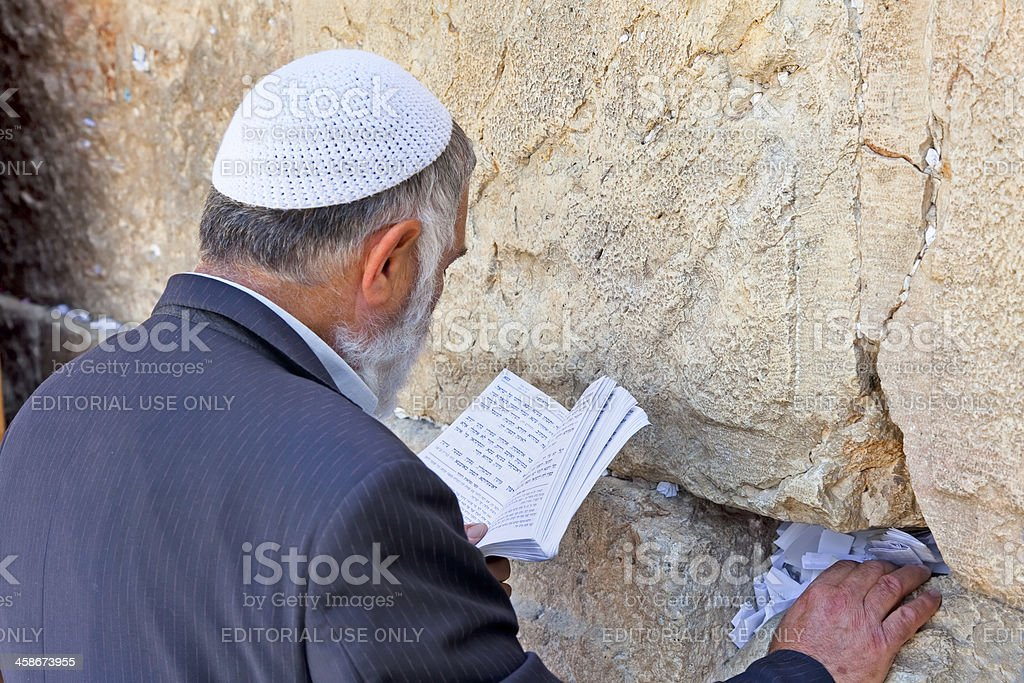 Jewish  praying at the western wall stock photo