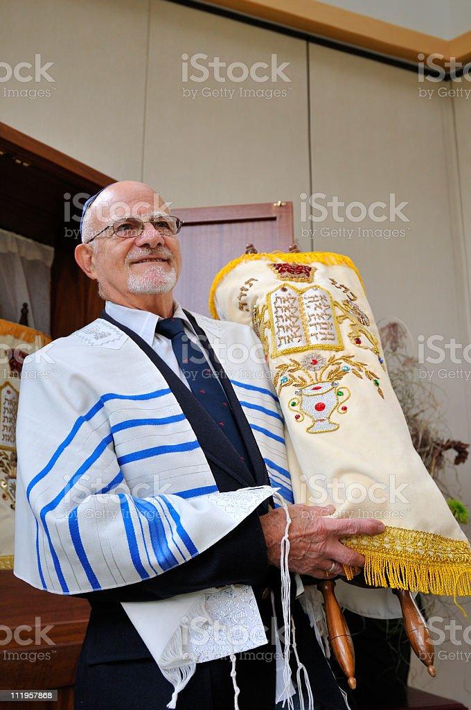 Jewish Rabbi Holds Torah stock photo