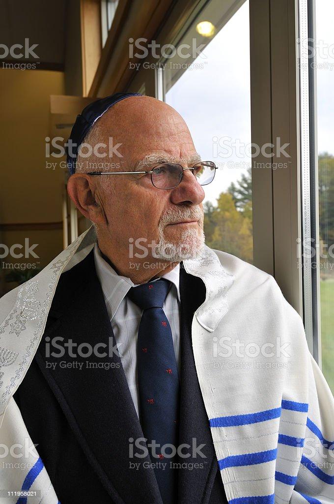Jewish Rabbi Reflects stock photo