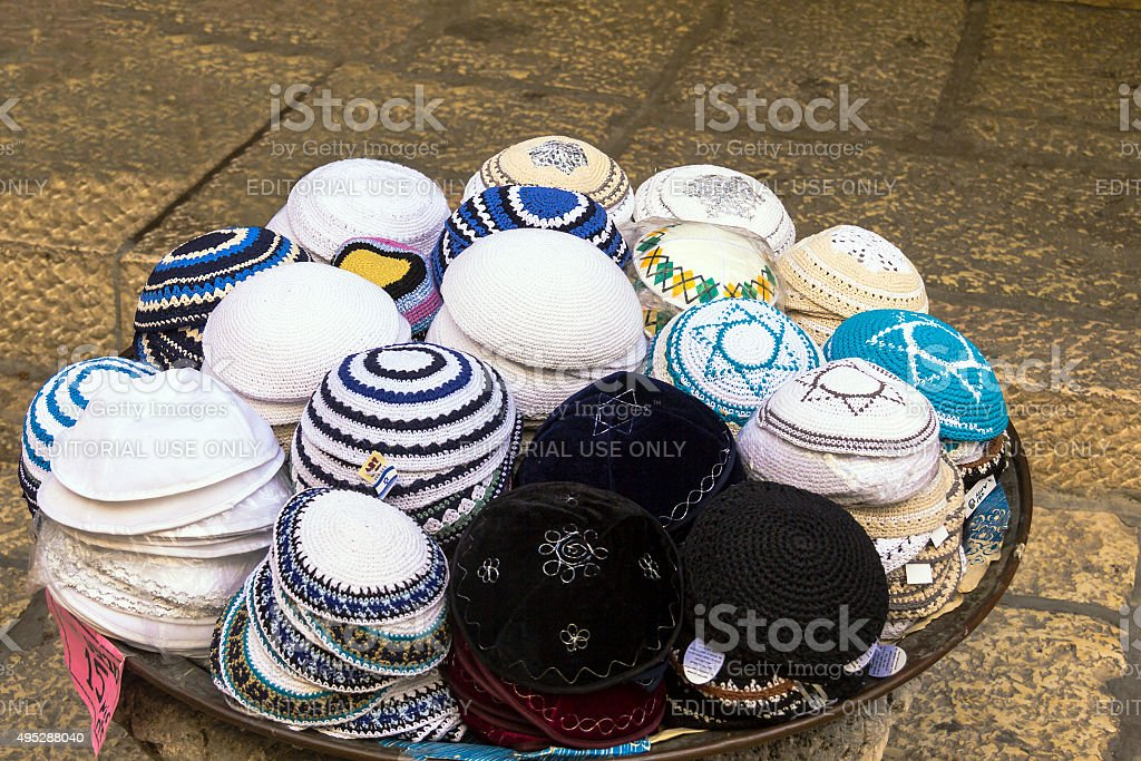 Jewish religious caps  on the market in Jerusalem, Israel stock photo