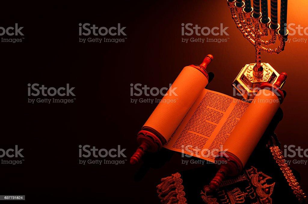 Jewish religious symbols under candlelight stock photo