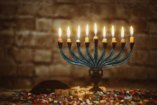 jewish ritual holiday hanukkah menorah traditional burning candles - hanukkah stock pictures, royalty-free photos & images