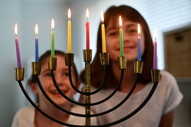 Jewish sisters happy on  Hanukkah Jewish holiday stock photo