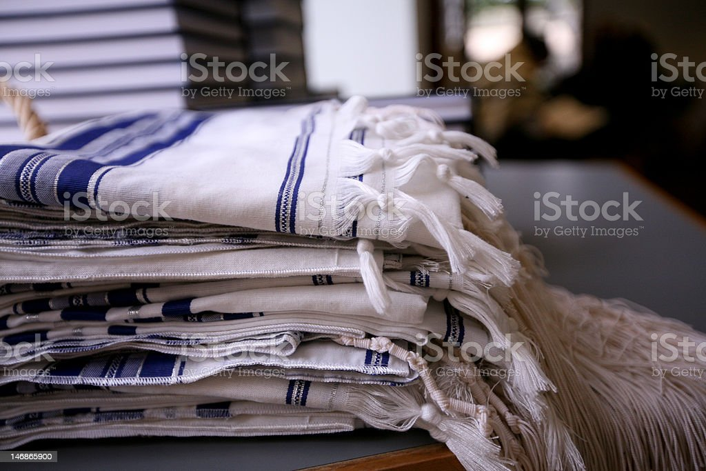 Jewish Tallit Prayer Shawls stock photo
