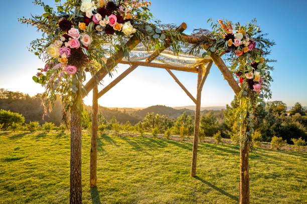 Jewish traditions wedding ceremony. Wedding canopy chuppah or huppah with clear skies stock photo