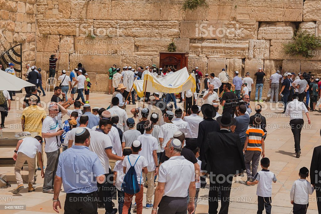 Jewish worshipers gather for a Bar Mitzvah ritual stock photo