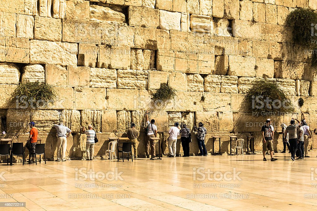 Jewish Worshipers Pray At The Wailing Wall Jerusalem Israel