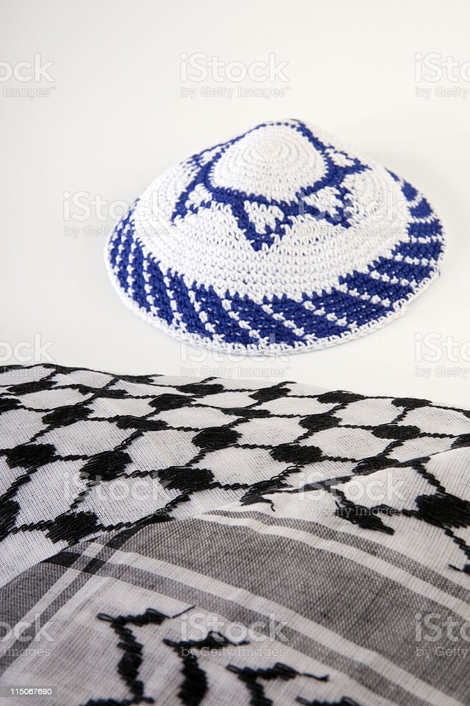 Fotografía de Kipa Judía Y Palestinos Pañuelo De Cabeza Sobre Fondo ...