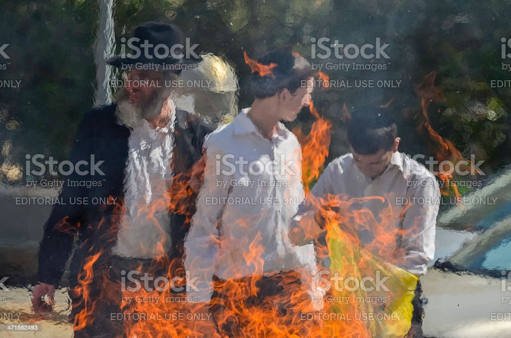 Jews are burning all there leavened products in Jerusalem royalty-free stock photo