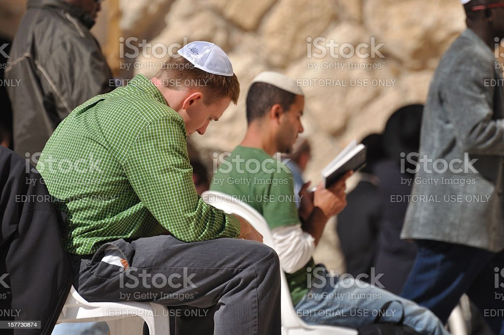 Jews praying at Wailing Wall stock photo
