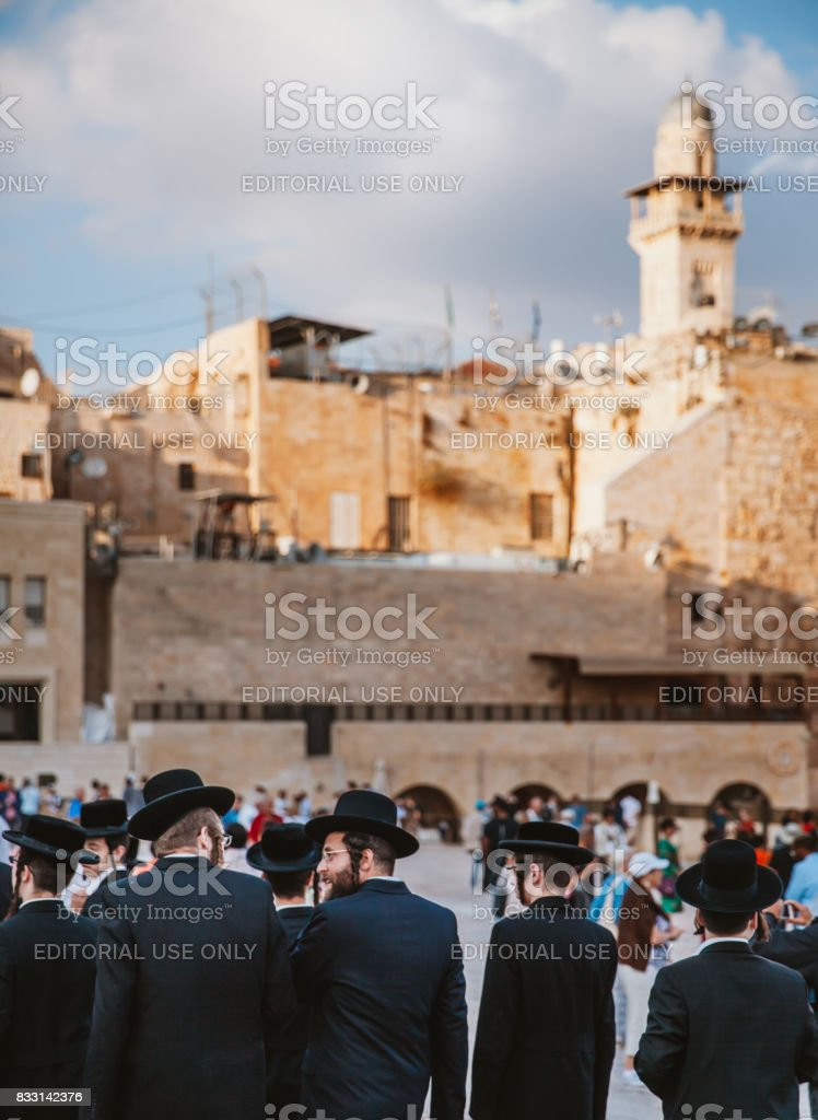 Jews Praying at Western Wall stock photo