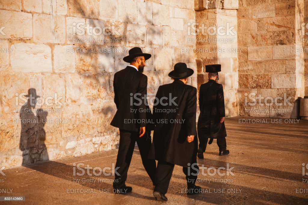 Jews Walking to Jaffa Gate in Jerusalem stock photo