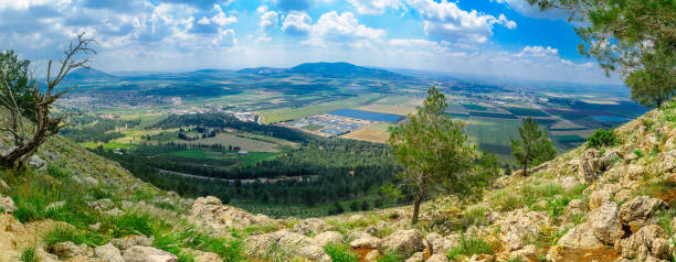 Jezreel Valley landscape, viewed from Mount Precipice stock photo