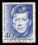 GERMANY - CIRCA 1964. Vintage postage stamp memorializes John F. Kennedy, circa 1964.