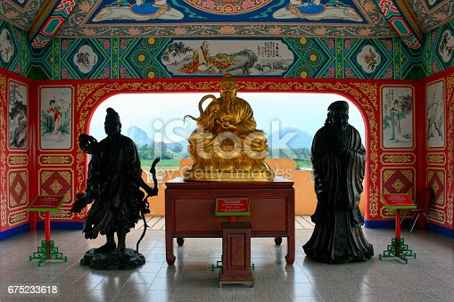 Statues of, from left to right:  Chi Kung Huo Fu, aka Ji Gong (a Chan Buddhist monk), Lao Tzu (a Chinese philosopher, writer and founder of Taoism) and K'ung Tzu, aka Confucius (a Chinese teacher, editor, politician, philosopher and founder of the Confucianism) at Anek Kuson Sala (also known as Viharnra Sien), an Chinese temple in the outskirt of Pattaya, Thailand.