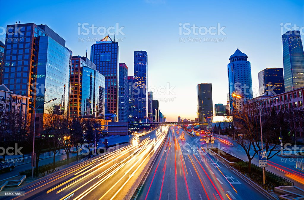 Jianguomen Avenue in Beijing at night royalty-free stock photo