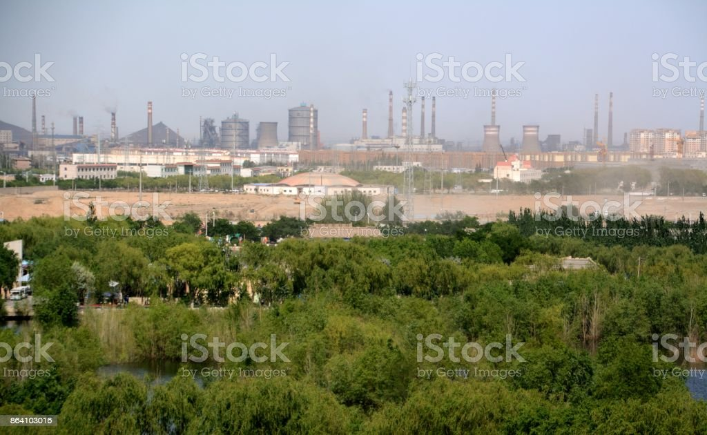 Jiayuguan city panorama, Gansu, China royalty-free stock photo