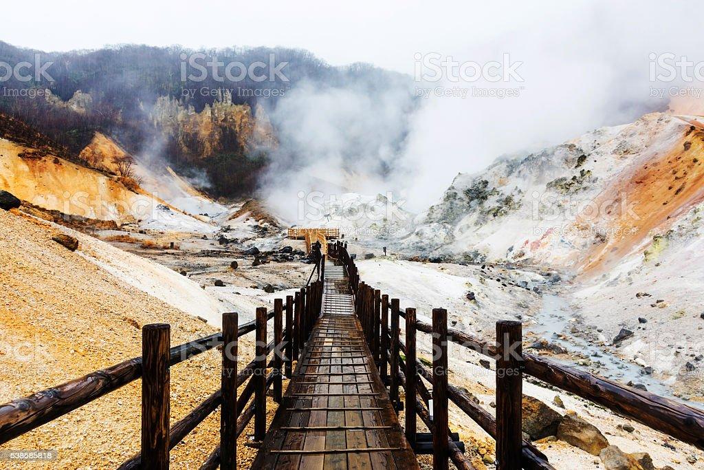 Jigokudani hell valley with walking trail, Noboribetsu royalty-free stock photo