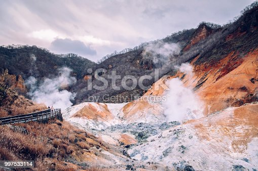 "istock Jigokudani, or ""Hell Valley"" active volcano geothermal crater in Noboribetsu, Hokkaido, Japan 997533114"