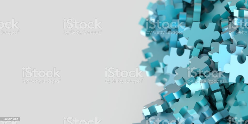 Jigsaw background, teamwork and strategy concepts, original 3d rendering stock photo