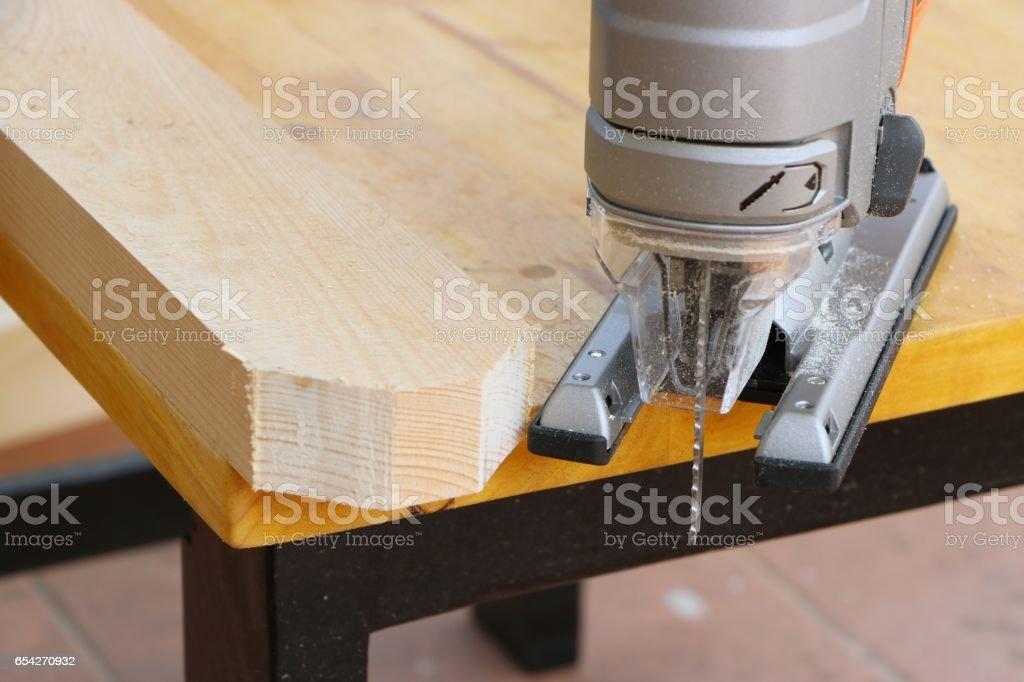 Jigsaw blade machine stock photo