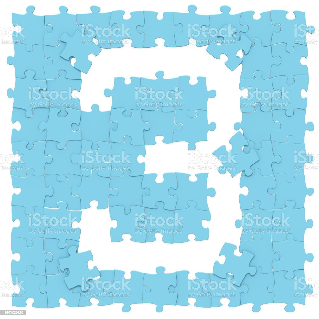 Jigsaw blue puzzles assembled like mathematical digit 3 or three on white background, puzzle board may be seamless connected along borders, 3D rendered image stock photo