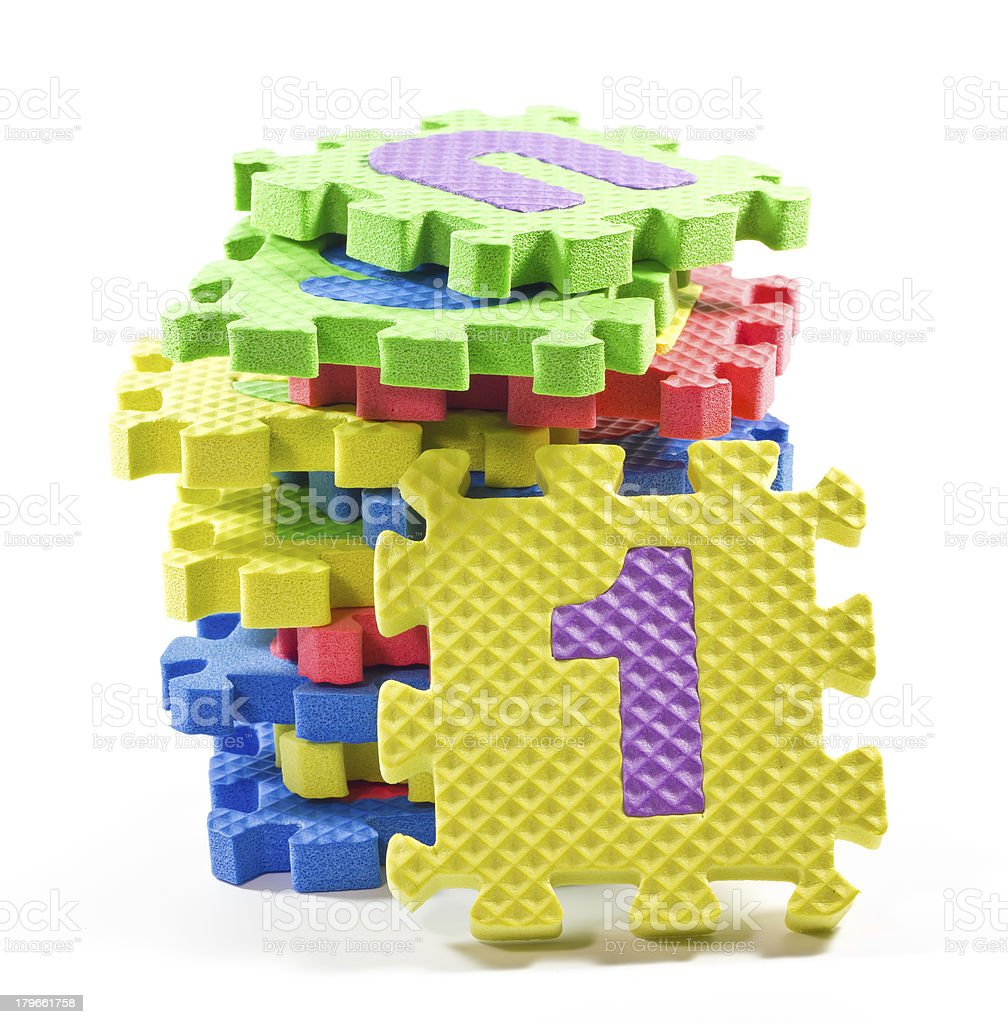 Jigsaw numbers. royalty-free stock photo