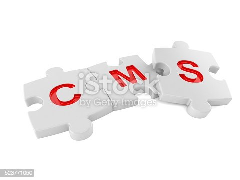 CMS jigsaw concept isolated on white background