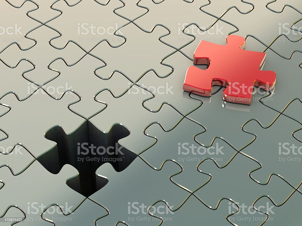Jigsaw piece and it's place royalty-free stock photo