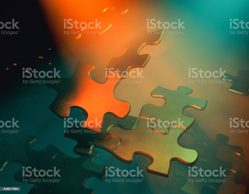 Jigsaw pieces floating. stock photo