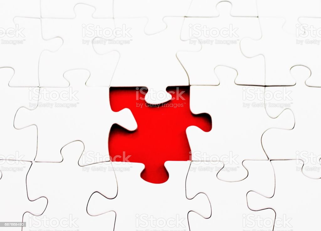 jigsaw puzzle blank missing piece complete stock photo