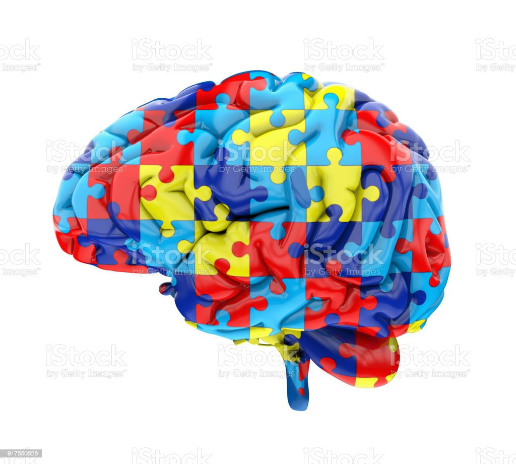 Jigsaw Puzzle Brain Isolated stock photo