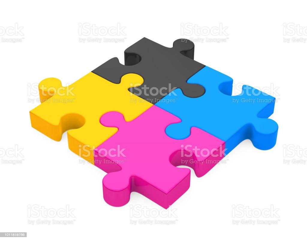 CMYK Jigsaw Puzzle Isolated stock photo