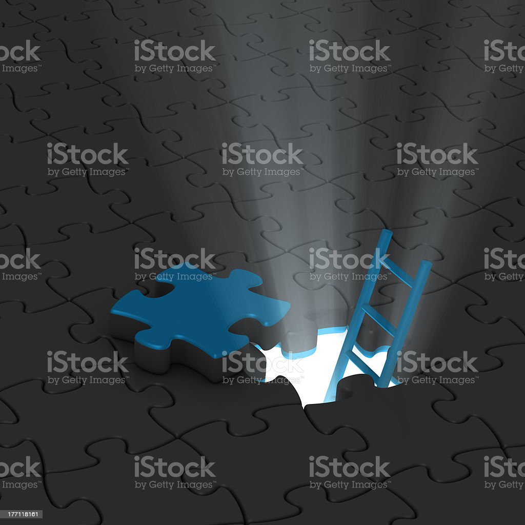 jigsaw puzzle, ladder and light stock photo