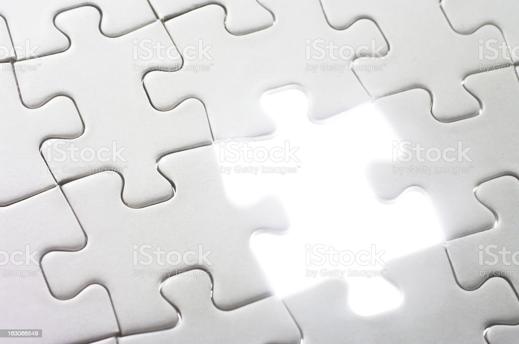 Jigsaw puzzle nearing completion. royalty-free stock photo