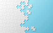 Jigsaw puzzle, pattern texture separated on blue background. 3d illustration