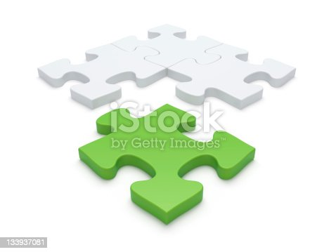 Job Recruitment Symbol - Jigsaw Puzzle Piece Vacancy Solution. Three-dimensional Shape Illustration.