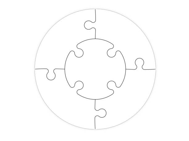 jigsaw puzzle template with five pieces - puzzel pieces stockfoto's en -beelden