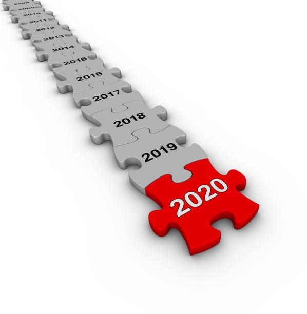 yapboz zaman çizelgesi. mutlu yıllar 2020. - timeline stok fotoğraflar ve resimler