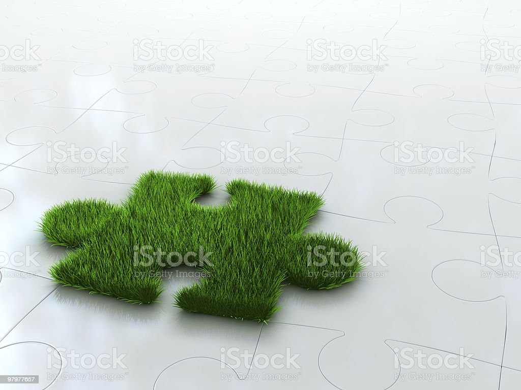 jigsaw puzzle with green grass royalty-free stock photo