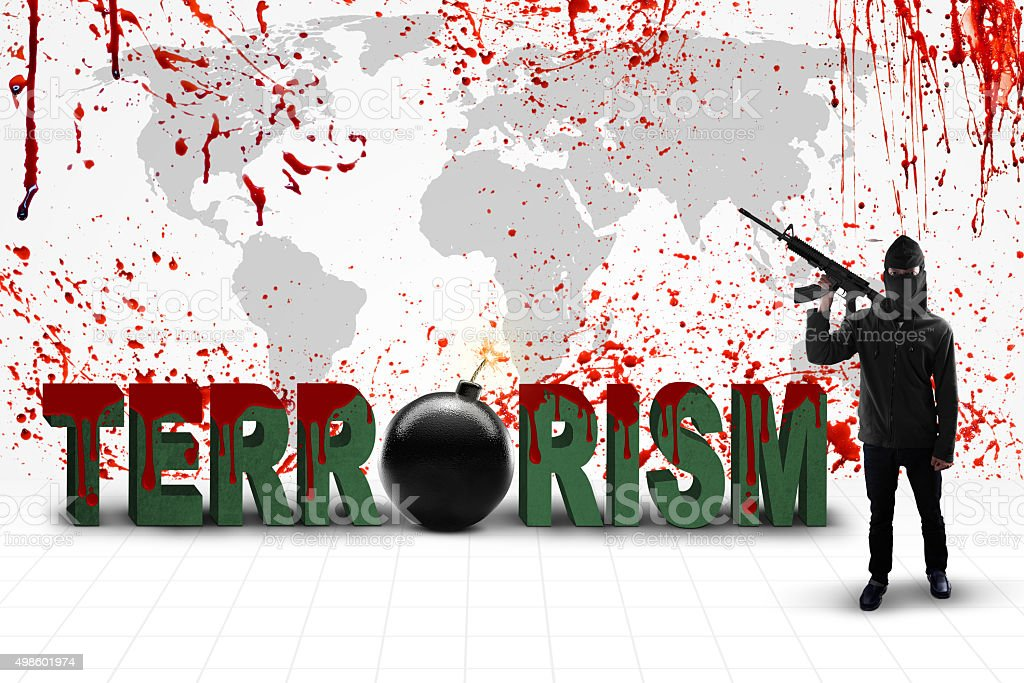Jihadist with terrorism text and bloody map stock photo