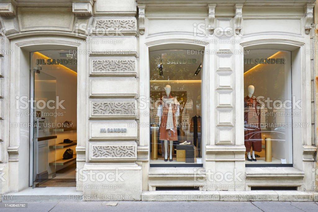 Jil Sander fashion luxury store in Paris, France.