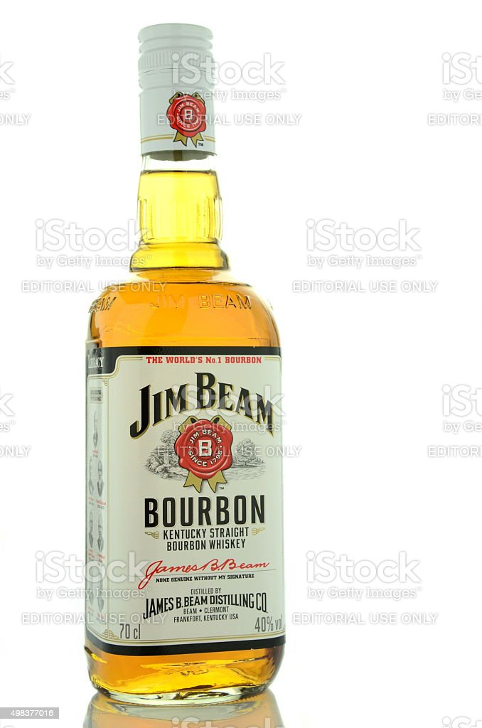 Jim Beam bourbon whiskey isolated on white background stock photo