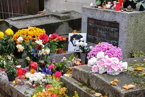 Jim Morrison grave in Pere-Lachaise cemetery, Paris.