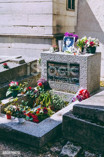 Paris, France - April 27, 2016: Grave of James Douglas (Jim) Morrison with flowers and his photo decorate located at Père Lachaise Cemetery, Paris, France. James Douglas Morrison (1943 – 1971) was an American singer, songwriter, and poet best remembered as the lead singer of the Doors.