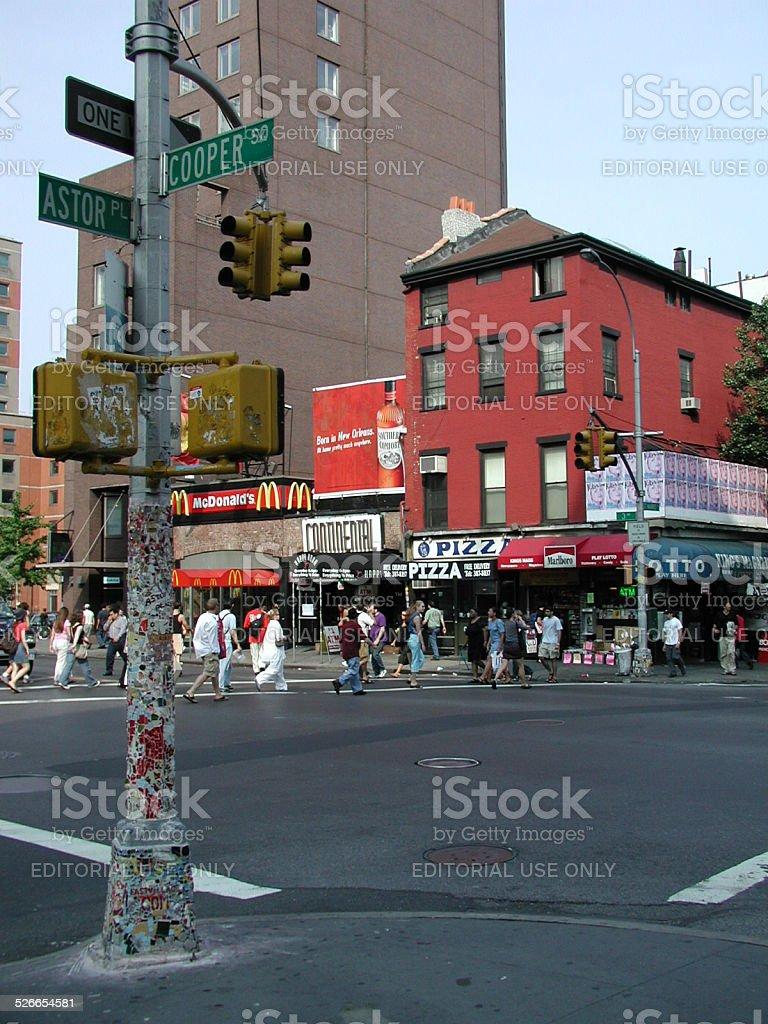 Jim Power's Mosaic Corner on Cooper and Astor NYC stock photo
